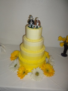Lace and Lemons Yellow Ombre Wedding Cake